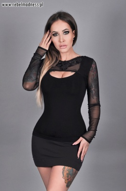 Bluzka sheer sleeve