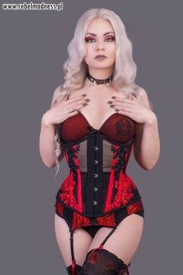 Gorset underbust black\'n red mesh