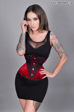 Gorset underbust mini cherry red